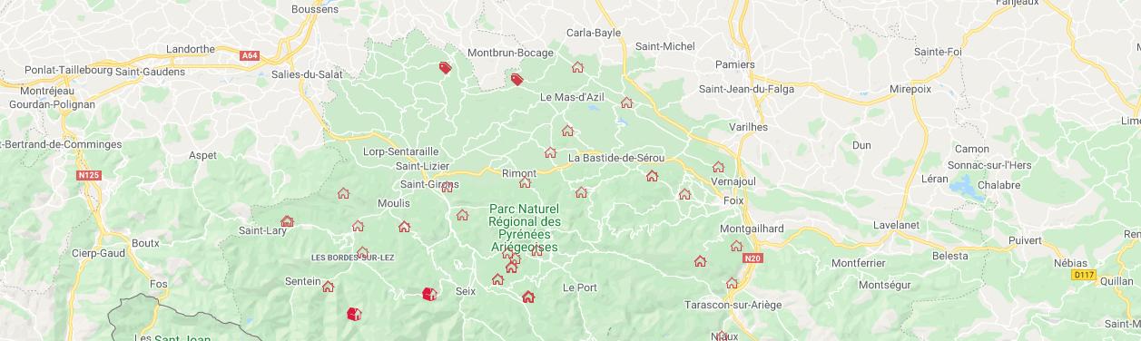 Carte Gîtes Valeurs Parc - Pyrénées - PNR Pyrénées Ariégeoises